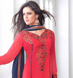 V_NECK IN TOMATO RED COLOR SALWAR KAMEEZ WITH NAVY BLUE COLOR CHIFFON DUPATTA RED COLOR SALWAR SUIT DECORATED FLORAL EMBROIDERY PATH WORK AND ZARI BORDER WORKWITH  LONG SLEEVE KAMEEZ