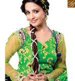 GREEN GEORGETTE ANARKALI SALWAR KAMEEZ WITH NET FABRIC SLEEVES