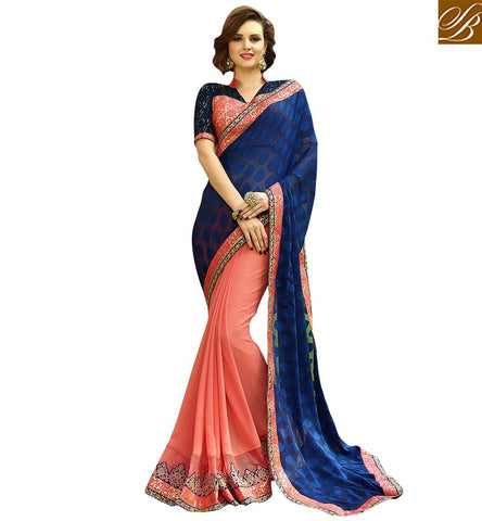 FROM THE HOUSE  OF STYLISH BAZAAR LOVELY EMBROIDERED PARTY WEAR SAREE DESIGN KESMAN3005