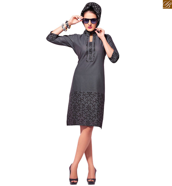 High neck collar short kurti styles with stylish designs and shape grey pure-cotton floral printed kurti and print work on upper part, neck line and sleeves Image