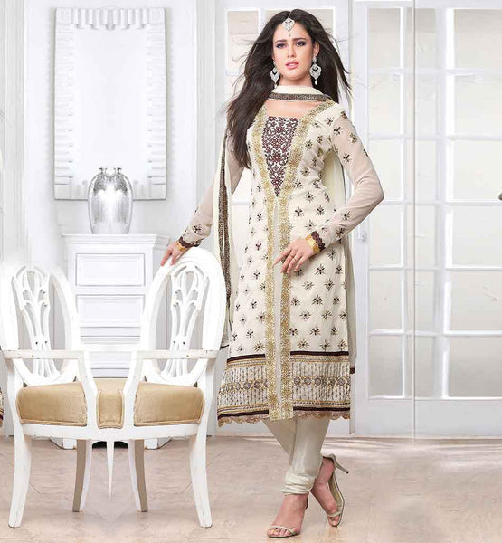 PARTY WEAR SALWAR KAMEEZ ONLINE FOR WOMEN  PAKISTANI STYLE ABSTRACT PRINT AT NECK LINE WITH CHIFFON FABRIC DUPATTA