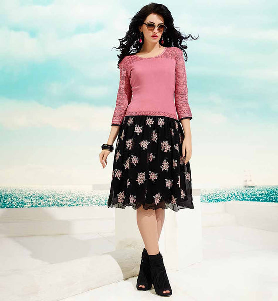 SKIRT WITH T-SHIRT STYLE NEW FASHION KURTI DUSTY PINK AND BLACK GEORGETTE AND RUSSEL NET TUNIC WITH SANTOON INNER