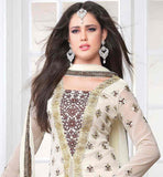 PAKISTANI STYLE ABSTRACT PRINT AT NECK LINE WITH CHIFFON FABRIC DUPATTA OFF WHITE  SALWAR KAMEEZ WITH ABSTRACT PRINT AND SILVER BROWN EMROIDERY BUTTA WORK WITH MIDDLE LINE PATH WORK