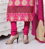 BEIGE CHANDERI COTTON TOP WITH PINK BOTTOM AND SHADED DUPATTA BEAUTIFUL PUNJABI SALWAR KAMEEZ WITH DUPATTA