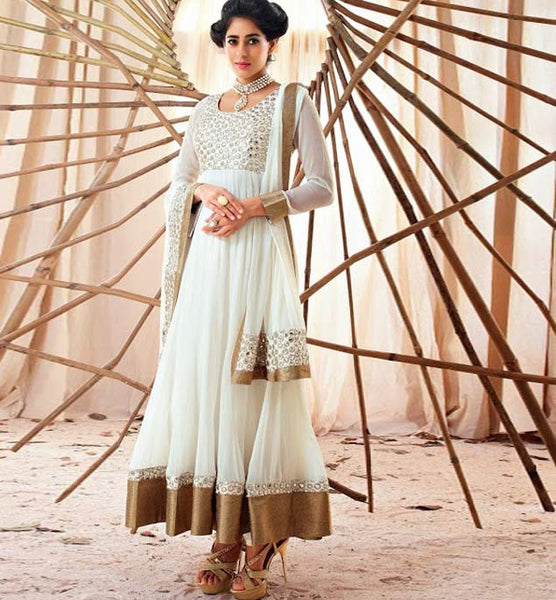 OFF-WHITE GEORGETTE ANARKALI FROM THE MOVIE HOLIDAY VSHD3006 - salwar kameez online shopping, designer salwar kameez online, online shopping for salwar kameez, salwar kameez shop online, salwar kameez designs
