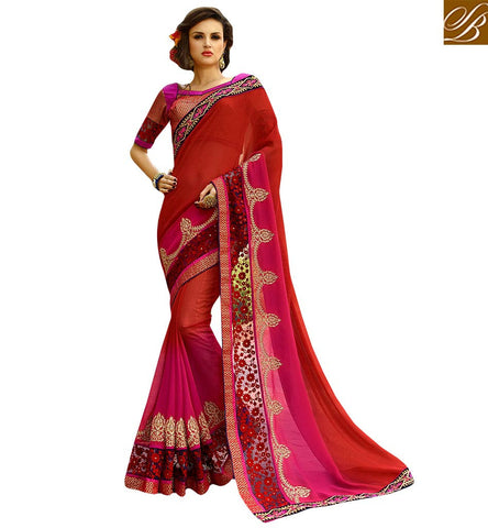 GORGEOUS EMBROIDERED SARI BLOUSE CRAFTED FOR PARTIES KESMAN3006 BY RED & PINK