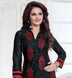 STYLISH MONICA BEDI KNEE LONG DRESS WITH DUPATTA BLACK CHANDERI COTTON KAMEEZ WITH RED SALWAR AND HIJAB