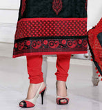 BLACK CHANDERI COTTON KAMEEZ WITH RED SALWAR AND HIJAB CELEBRITIES IN SALWAR SUITS NEW COOL PATTERNS