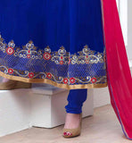 BLUE FLOOR LENGTH SALWAR KAMEEZ IN ANARKALI STYLE IN DECORATED WITH PINK AND SILVER HEAVY FLORAL EMBROIDERY DESIGNER ANARKALI SALWAR SUITS FOR PARTY WEAR VDJEN3007