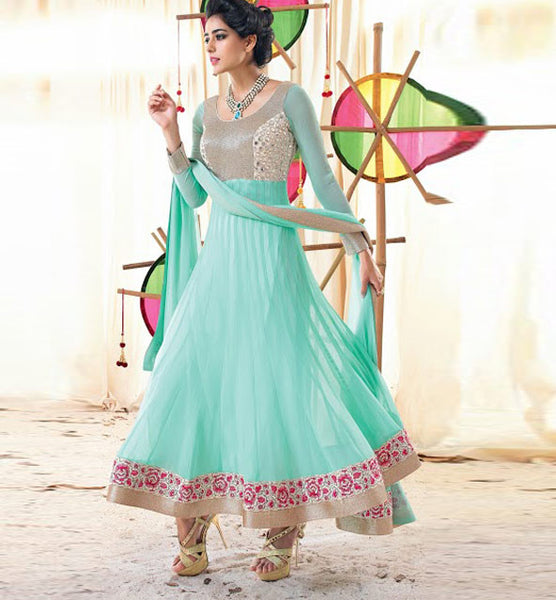 LIGHT BLUE GEORGETTE ANARKALI FROM THE MOVIE HOLIDAY VSHD3007- Holdiay Dresses, hoiday anarkali, Holiday Salwar Suit, latest designer salwar kameez, anarkali salwar kameez  online, designer salwar kameez online, salwar kameez online shopping, designer salwar kameez online,