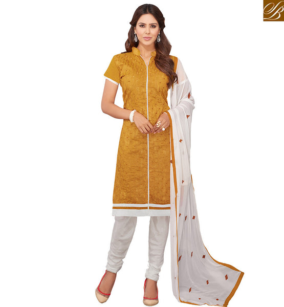MARVELOUS MUSTARD KAMEEZ COMBINED WITH WHITE BOTTOM AND PALLU VDRAS3007 STYLISH BAZAAR