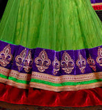 parrot green net lehenga with rich embroidery and velvet lace