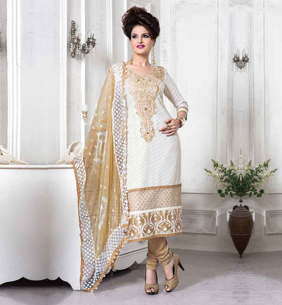 CELEBRITY SALWAR KAMEEZ RICH EMBROIDERED NECKLINE BEAUTIFUL HEROINE MONIKA BEDI EMBROIDERED DRESS