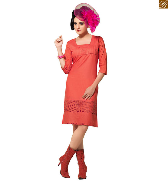Kurti designs with border patterns indo western outfits style orange pure-cotton v neck style with piping, maroon floral print on lower part and border line Image