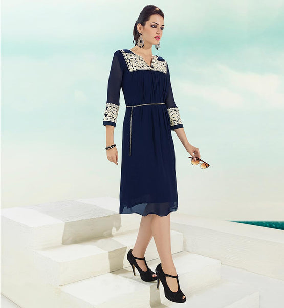 STYLISH BAZAAR LATEST KURTIS PATTERN FOR GIRLS SUPERB NAVY BLUE GEORGETTE KURTI WITH INNER