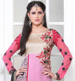 PERFACT DESIGENR DRESS IN PAKISTANI SALWAR SUIT WITH DUPATTA  THIS DRESS BEUTIFULLY DECORATED WITH PINK AND BLACK FLORAL EMBROIDERY AND COPPER COLOR ZARI BORDER