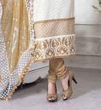 CHANDERI COTTON OFF WHITE TOP WITH BEIGE SALVAR AND DUPATTA CELEBRITY SALWAR KAMEEZ RICH EMBROIDERED NECKLINE