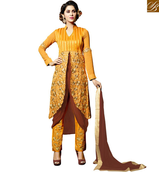 VIBRANT COLORED SLIT CUT SALWAAR KAMEEZ DRESS DESIGN VDRNA3008