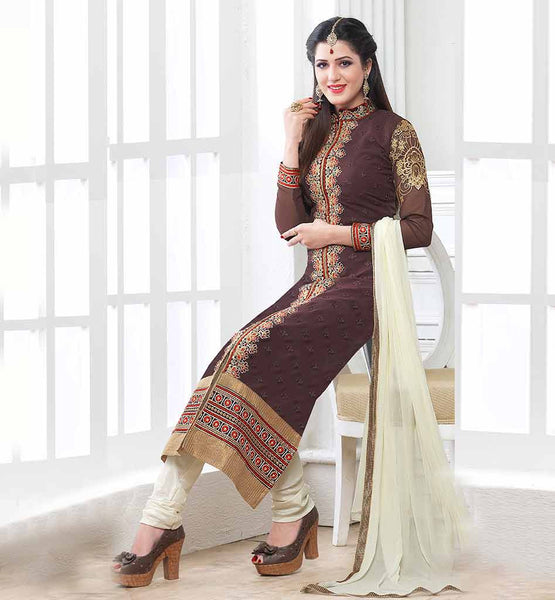 INDIAN DESIGNER CHURIDAR KAMEEZ WITH DUPATTA STRAIGHT CUT SALWAR KAMEEZ IN PAKISTANI BANDGLA COLLAR DESIGN