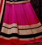 PINK LEHENGA CHOLI WITH MOTIWORK AND LAYERED LACE BORDER