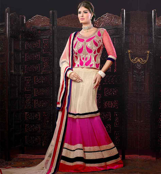 NEW FASHION WEDDING WEAR NET GHAGRA WITH RICH WORK DESIGNER CHOLI