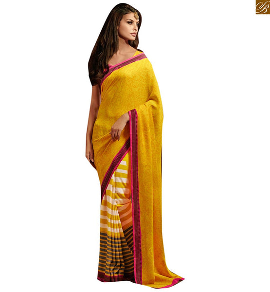 Image Of Half saree patterns looking nice with latest designer blouse yellow bhagalpuri silk half n half style stripe & negative print casual saree with matching blouse
