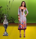 SHOP ONLINE LATEST LONG KURTIS PRINTED DESIGNS EXCELLENT GREY COLOR LONG COTTON MATERIAL KURTI TOP