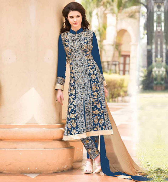 INDIAN WOMENS PARTY WEAR SALWAR KAMEEZ SUITS LOVELY BLUE DESIGNER GEORGETTE DRESS WITH EMBROIDERED SALWAR AND SHADED DUPATTA