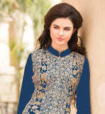 LOVELY BLUE DESIGNER GEORGETTE DRESS WITH EMBROIDERED SALWAR AND SHADED DUPATTAMake Heads turn at the parties by getting dressed in this attractive fashionable Indian Women's Party wear georgette salwar suit and enhanced with zari, embroidery stone work, patch butta along with lace edge