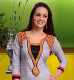 EXCELLENT GREY COLOR LONG COTTON MATERIAL KURTI TOP THIS KURTHI HAS BEADS DESIGNING, EMBROIDERY WORK AND CITYSCAPE PRINTED PATTERN
