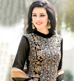 LOVELY BLACK PARTY WEAR SALWAR KAMEEZ SUIT WITH CHIFFON DUPATTA