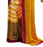 Image of Yellow bhagalpuri silk half n half style stripe & negative print casual saree with matching blouse