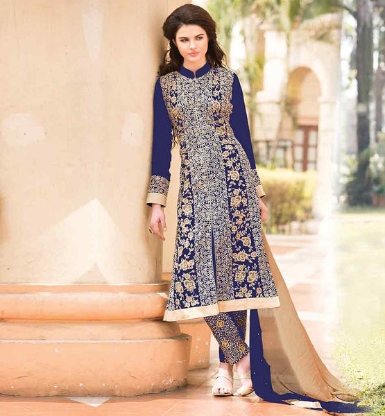 SHOP ONLINE DESIGNER PARTY WEAR SALWAR SUITS ATTRACTIVE AZURE DESIGNER GEORGETTE COSTUME HAVING EMBROIDERED SALWAR ALONG WITH DUAL COLOR DUPATTA