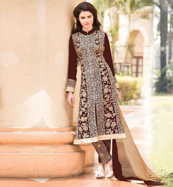VALUE FOR MONEY DESIGNER INDIAN SALWAR SUITS WONDERFUL BROWN GEORGETTE KAMIZ HAVING ADORNED SALWAR PLUS TWO COLORED ODHNI
