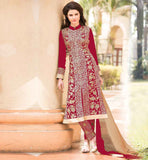 ONLINE SHOPPING FOR LADIES SALWAR KAMEEZ SUITS FANTASTIC MATT RED GEORGETTE KAMIZ POSSESSING DECORATED SALWAR AND SHADED ODHNI