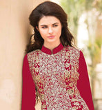 FANTASTIC MATT RED GEORGETTE KAMIZ POSSESSING DECORATED SALWAR AND SHADED ODHNI. Look your beautiful best by getting dressed in this exciting georgette salwar kameez suit from stylishbazaar . Straight look design that is very much loved by the modern ladies with embroidered salwar for the perfect look