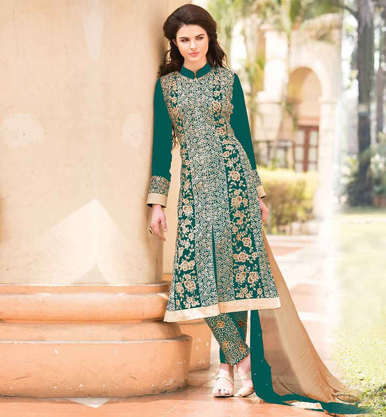 DESIGNER CLOTHING FOR WOMEN AT AFFORDABLE PRICE  REMARKABLE GREEN GEORGETTE KAMIZ FEATURING INCLUDED ADORNED SALWAR ALONG WITH TWIN HUED DUPATTA