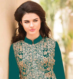 REMARKABLE GREEN GEORGETTE KAMIZ FEATURING INCLUDED ADORNED SALWAR ALONG WITH TWIN HUED DUPATTA Make your own style statement by wearing this exciting designer salwar kameez suit at affordable rate from stylishbazaar. Extra-Ordinary detailing is done on the dress with zari, embroidery, stone-work, patch butta and lace border