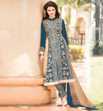 ONLINE PARTY WEAR SUIT WITH EMBROIDERED BOTTOM EXCEPTIONAL MATT BLUE COLOR GEORGETTE FABRIC KAMEEZ WITH ENRICHED BOTTOM AND CHIFFON ODHNI