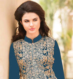EXCEPTIONAL MATT BLUE COLOR GEORGETTE FABRIC KAMEEZ WITH ENRICHED BOTTOM AND CHIFFON ODHNI ALL OVER EMBROIDERY AND ZARI WORK IS DONE ON THE DRESS WITH ORNATE DESIGNING AND COMES WITH ADORNED SALWAR