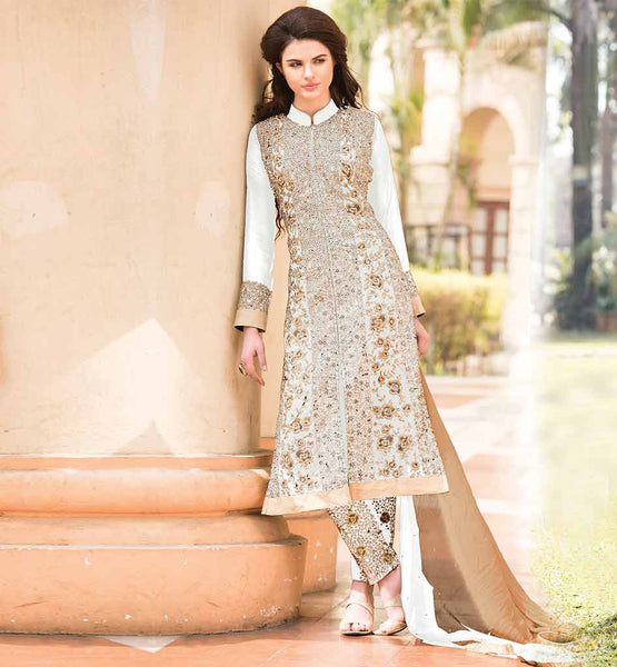 SHOP ONLINE EVER STYLISH SALWAR SUITS FOR WOMEN EXCEPTIONAL WHITE GEORGETTE CLOTH KAMEEZ WITH RICH PATTERN SALWAR AND CLASSY CHIFFON DUAL COLOR DUPATTA