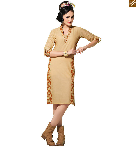 Latest kurti neck designs for girls 2015 fashion trend and style beige pure-cotton v type neck printed designer kurti and roll up sleeves with border line Image