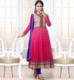 RETRO STYLE PARTY WEAR CHURIDARS WITH PRICE  PERFACT PINK SALWAR SUIT IN ANARKALI STYLE WITH BLUE CHIFFON FABRIC DUPATTA
