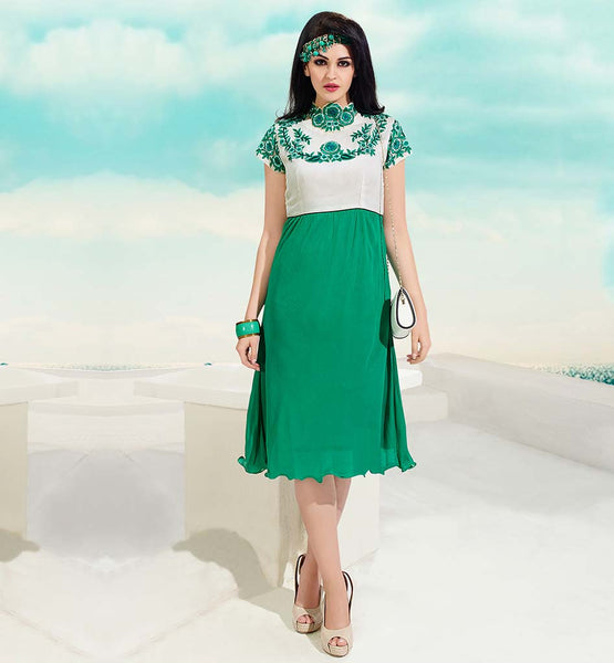 STYLISH TUNIC DESIGNS WITH DESIGNER NECKLINE GORGEOUS GREEN AND OFF-WHITE GEORGETTE KURTI WITH INNER FABRIC