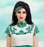 GORGEOUS GREEN AND OFF-WHITE GEORGETTE KURTI WITH INNER FABRIC  DECORATED WITH GREEN & SILVER COLOR ROSE FLORAL EMBROIDERY WORK NECK LINE & SLEEVES LINE AND AT COLLAR