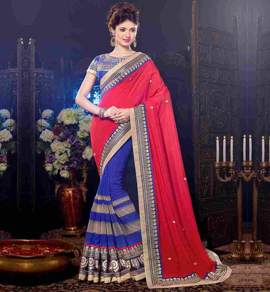 SPECIAL OCCASION WEAR SAREE DESIGN WITH RICH EMBROIDERED BLOUSE
