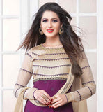 TWO COLOR STYLE SALWAR KAMEEZ SUIT WITH LONG SLEEVE BUY STYLISH AND FASCINATE VIOLET & BEIGE COLOR SALWAR KAMEEZ IN FLORAL EMBROIDERY WORK