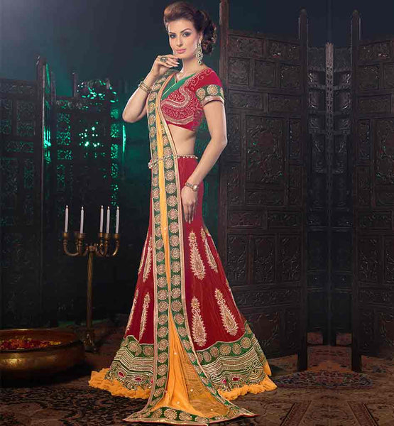 EVERSTYLISH WEDDING WEAR HEAVY EMBELLISHED VELVET GHAGRA CHOLI