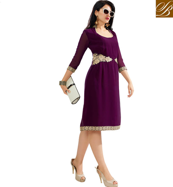 TRENDY PARTY WEAR KURTI DESIGN 2015 FOR WOMEN MAJESTIC MAGENTA DESIGNER GEORGETTE KURTI WITH ATTACHED INNER FABRIC