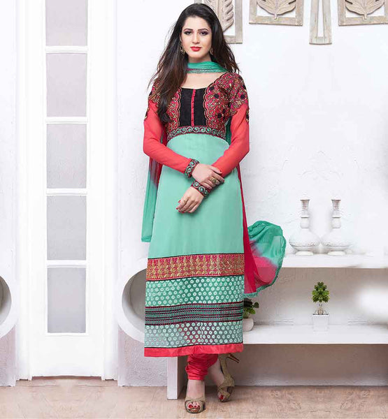 BUY ONLINE DESIGNER SUITS WITH CASH ON DELIVERY  MULTI COLOR STYLISH SALWAR KAMEEZ IN CHIFFON DUPATTA